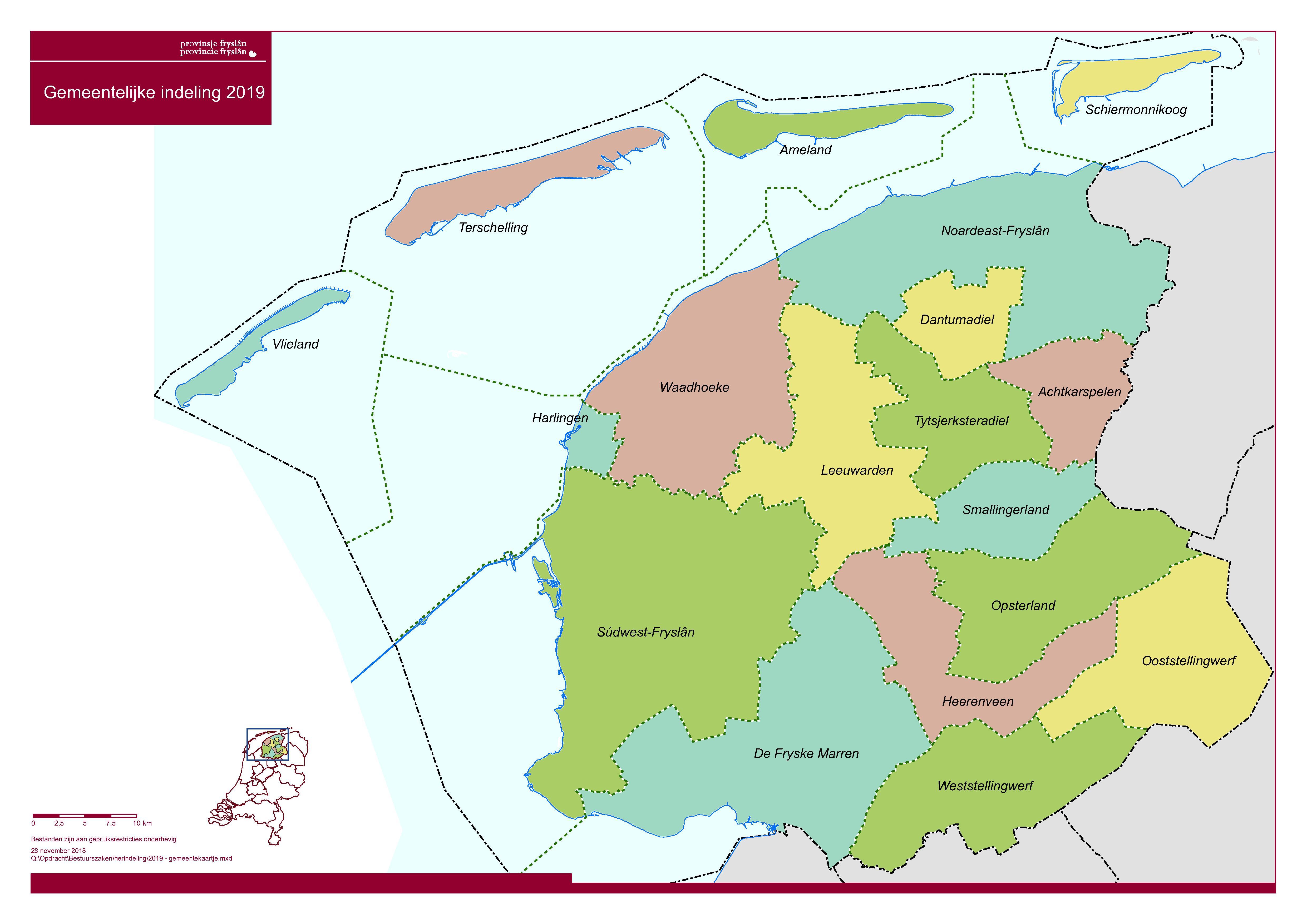 Overzichtskaart Friese gemeenten